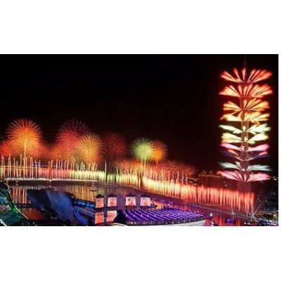 Guangzhou Asian Games witnessed its first rehearsal of fireworks